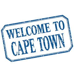 Cape Town - welcome blue vintage isolated label vector