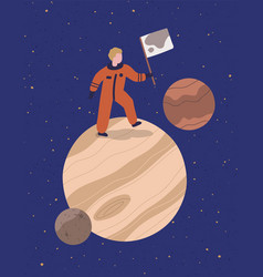 cartoon astronaut stand on planet hold flag vector image