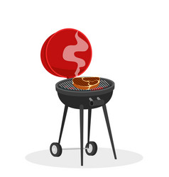 cartoon barbecue grill with hot coals juicy ready vector image