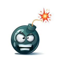 Cartoon bomb fuse wick spark icon rage smiley vector