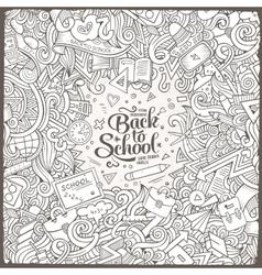 Cartoon cute doodles hand drawn school frame vector image