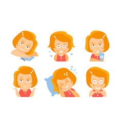 cartoon red-haired girl is tired in love drinks vector image