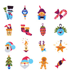 christmas tree and santa claus winter holidays vector image