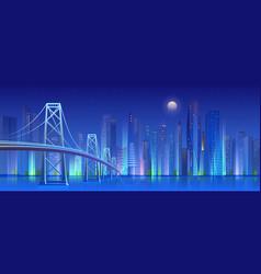 city bridge at night cartoon vector image