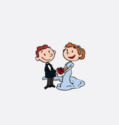 couple of newlyweds posing happy vector image