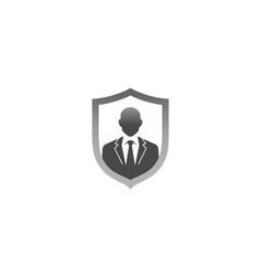 Creative gentelman tuxedo shield logo design vector