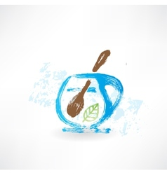 Cup of tea with spoon grunge icon vector image