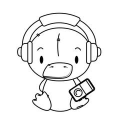 Cute little duck character vector