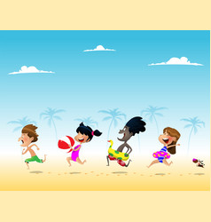 cute multiracial kids run to the sea vector image
