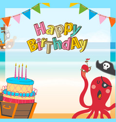 cute pirates cartoon birthday background vector image