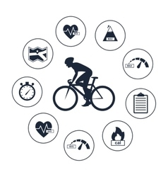 Cyclist on sports bike bicycle vector