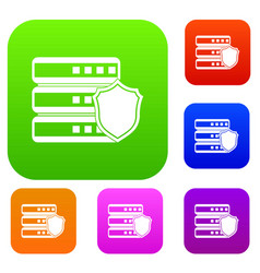 Database with gray shield set collection vector