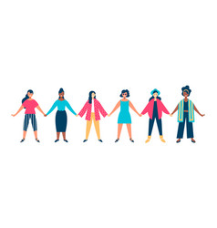 diverse woman group holding hands together concept vector image