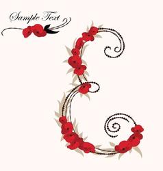 E hand drawn flower alphabet vector image
