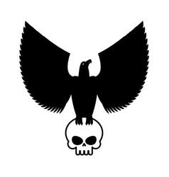 Eagle and skull template for emblem hawk logo vector