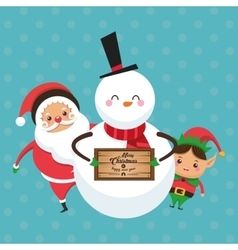 Elf santa and snowman cartoon of Christmas design vector