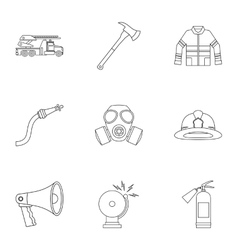 Firefighter icons set outline style vector image