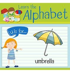 Flashcard letter U is for umbrella vector image