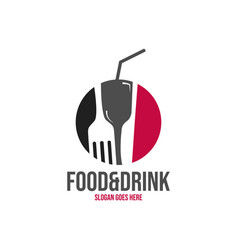 Food and drink logo negative space design style vector
