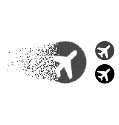 Fragmented dot halftone avion icon vector