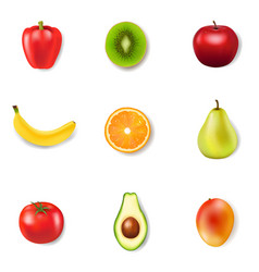 fresh fruits and white background vector image