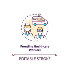 Frontline healthcare workers concept icon vector