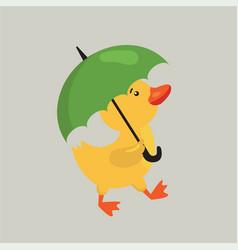 Funny cartoon duckling vector