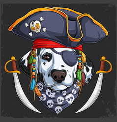 funny dalmatian dog in pirate hat with two swords vector image
