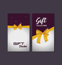 gift voucher card with ribbon yellow vector image