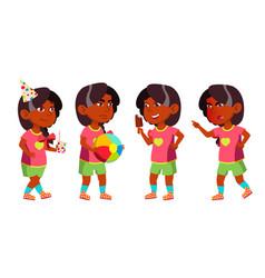 Girl kindergarten kid poses set indian vector