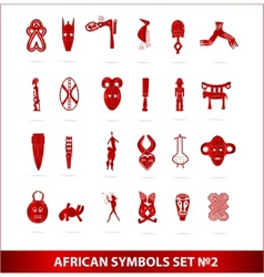 god african symbols set vector red color vector image