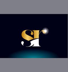 Gold golden alphabet letter sr s r logo vector