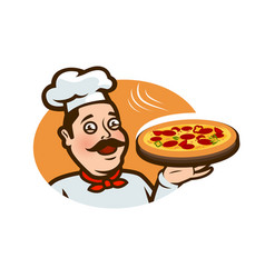 happy chef holding a pizza tray logo or label vector image