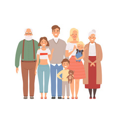 Happy family mother father kids and grandparents vector