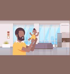 happy father holding newborn son man raising his vector image