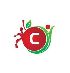 Health fruit juice initial c vector