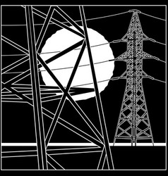 high-voltage power lines vector image