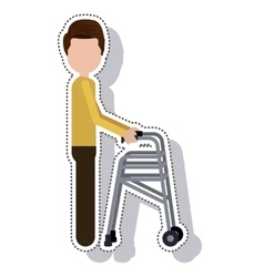 Hiker disable person isolated icon vector