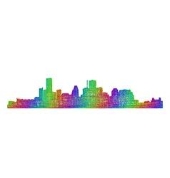 Houston skyline silhouette - multicolor line art vector
