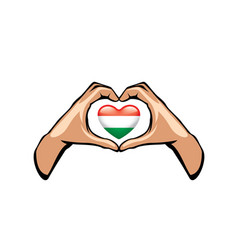Hungary flag and hand on white background vector