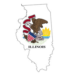 Illinois outline map and flag vector