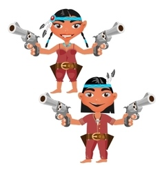 Indians man and woman with modern weapons vector