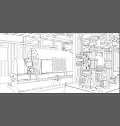 Industrial equipment wire-frame 3d render vector