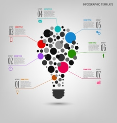 Info graphic with abstract colored bulb template vector image