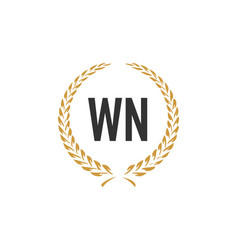 Initial letter wn wheat luxurious minimalist vector