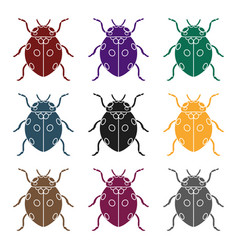 ladybug icon in black style isolated on white vector image