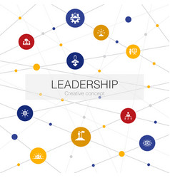 Leadership trendy web template with simple icons vector