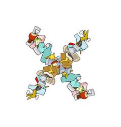 letter x rubbish trash font garbage alphabet vector image