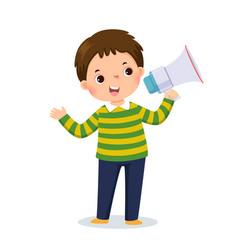 Little boy shouting megaphone vector