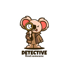 Logo detective koala mascot cartoon style vector